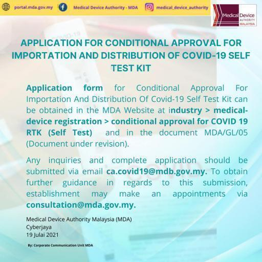 Application for conditional approval for importation distribution covid 19 self test kit 19072021